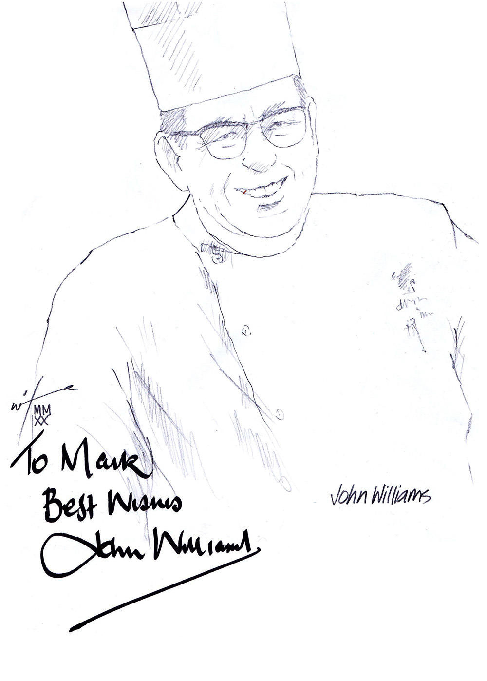 Autographed drawing of Chef John Williams