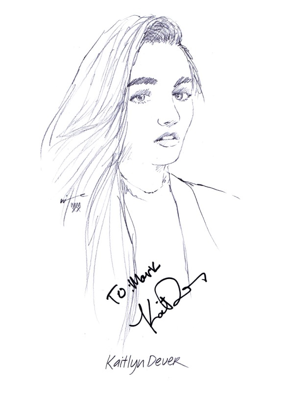 Autographed drawing of actress Kaitlyn Dever