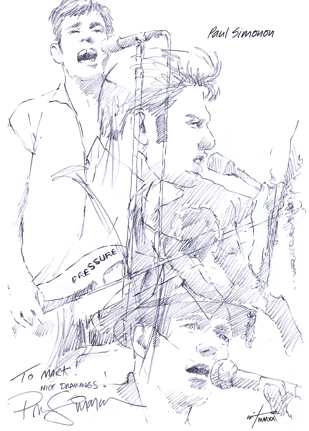 Autographed drawing of musician Paul Simonon of The Clash