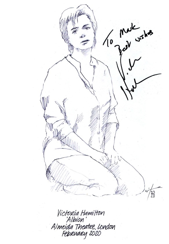Autographed drawing of Victoria Hamilton in Albion at the Almeida Theatre