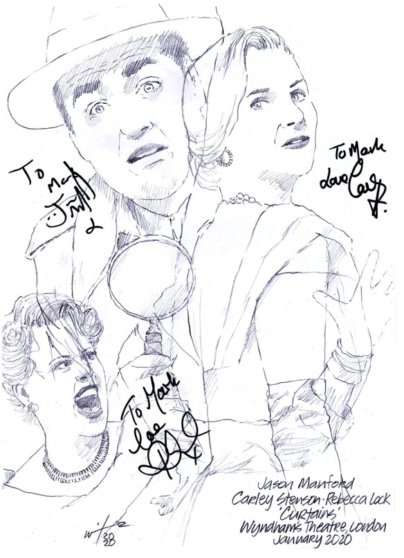 Autographd drawing of Jason Manford, Carley Stenson and Rebecca Lock in Curtains at Wyndham's Theatre on London's West End