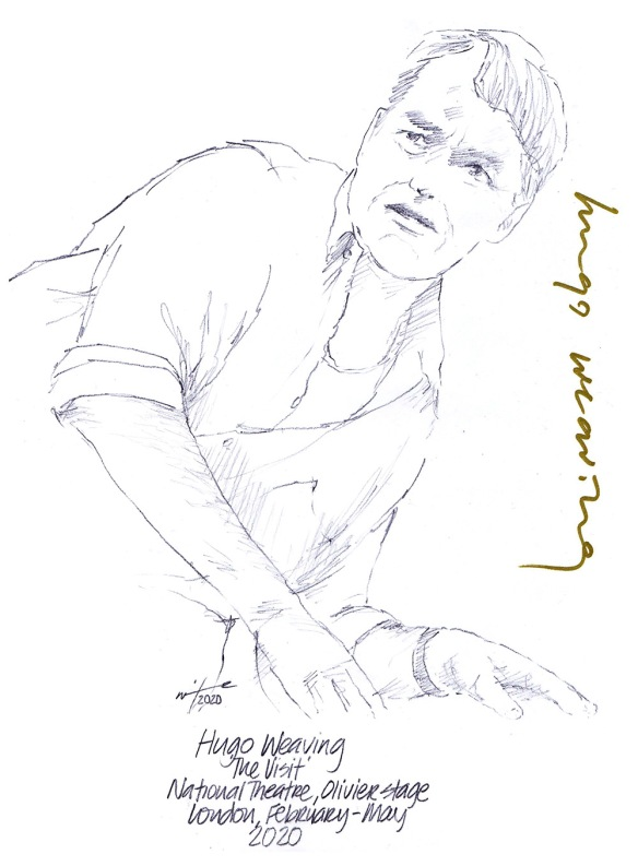 Autographed drawing of Hugo Weaving in The Visit at the National Theatre