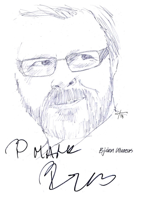 Autographed drawing of Bjorn Ulvaeus from Abba