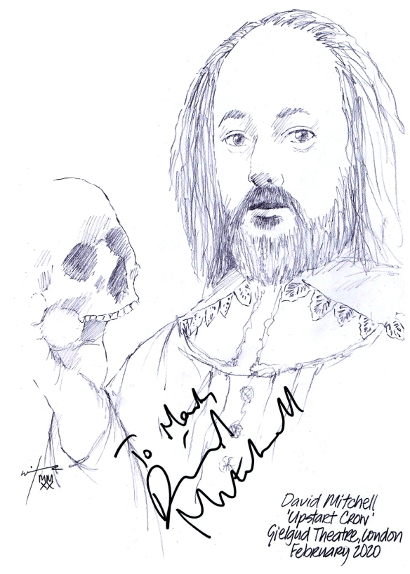Autographed drawing of David Mitchell in Upstart Crow in the Gielgud Theatre on London's West End