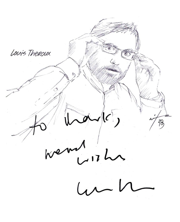 Autographed drawing of documentary filmmaker Louis Theroux
