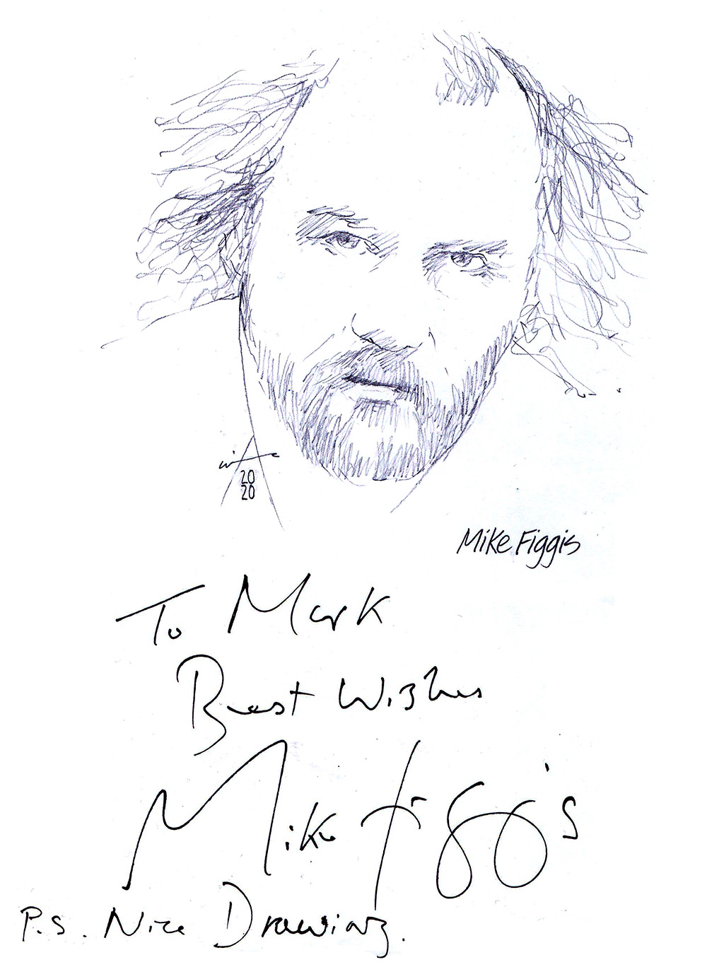 Autographed drawing of filmmaker Mike Figgis