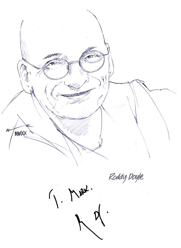 Autographed drawing of writer Roddy Doyle