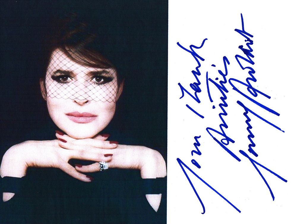 Autographed photo of Fanny Ardant