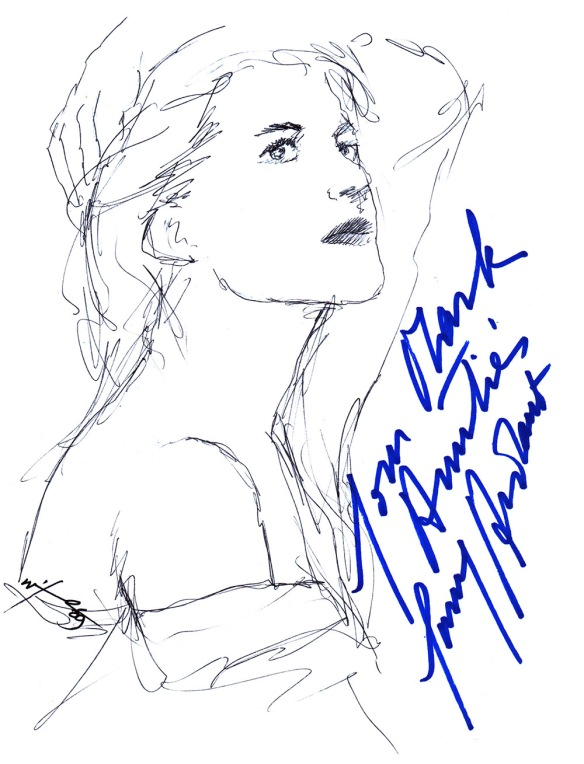 Autographed drawing of actress Fanny Ardant