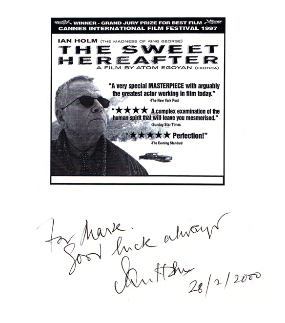Autograph of Ian Holm on The Sweet Hereafter poster