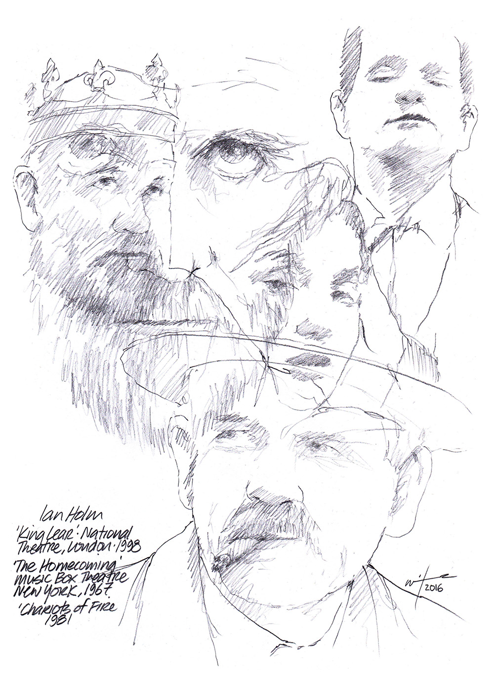 Montage drawing of actor Ian Holm