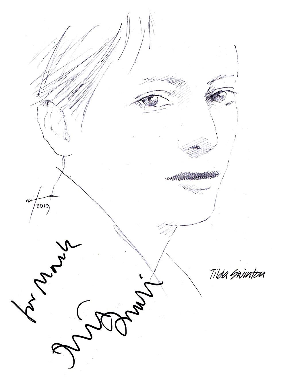Autographed drawing of actress Tilda Swinton