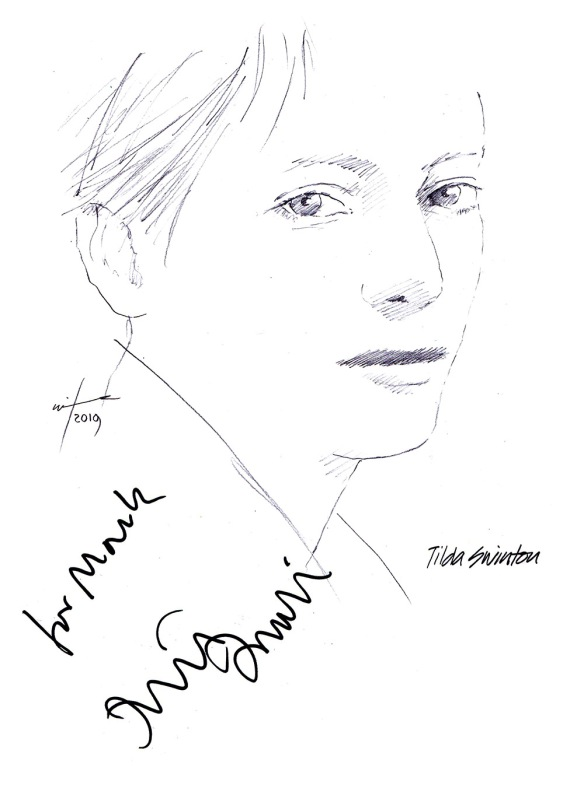 Autographed drawing of actress Tilda Swinton