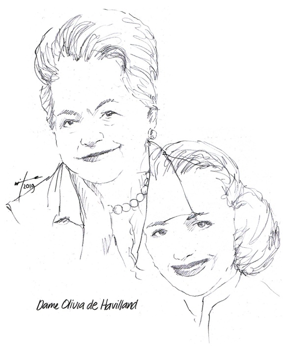 Drawing of actress Olivia de Havilland