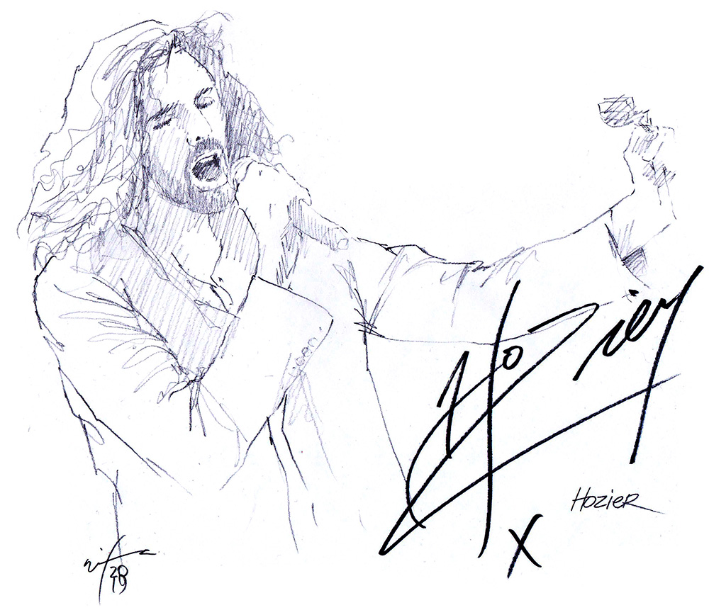 Autographed drawing of singer Hozier