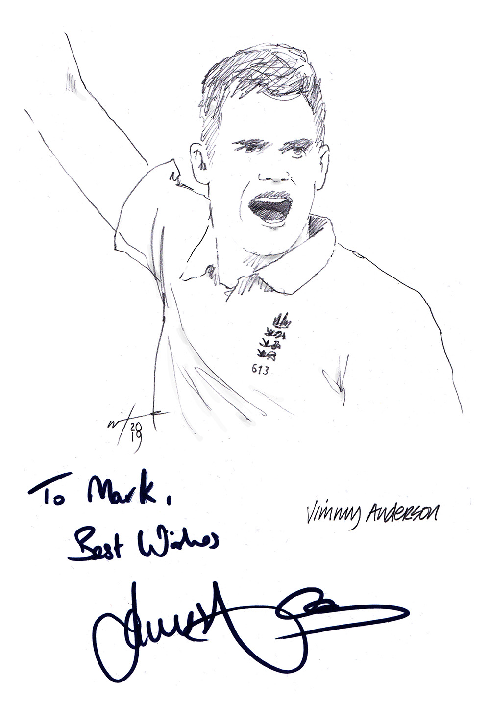Autogrpahed drawing of cricketer Jimmy Anderson