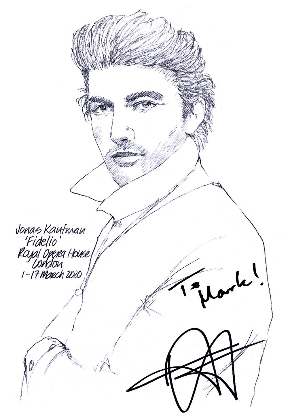 Autographed drawing of tenor Jonas Kaufman