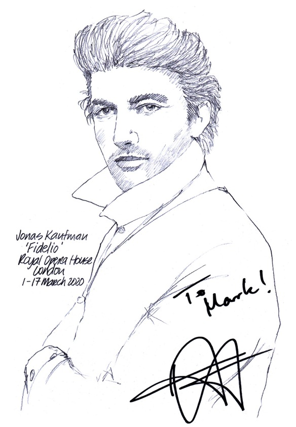 Autographed drawing of tenor Jonas Kaufman
