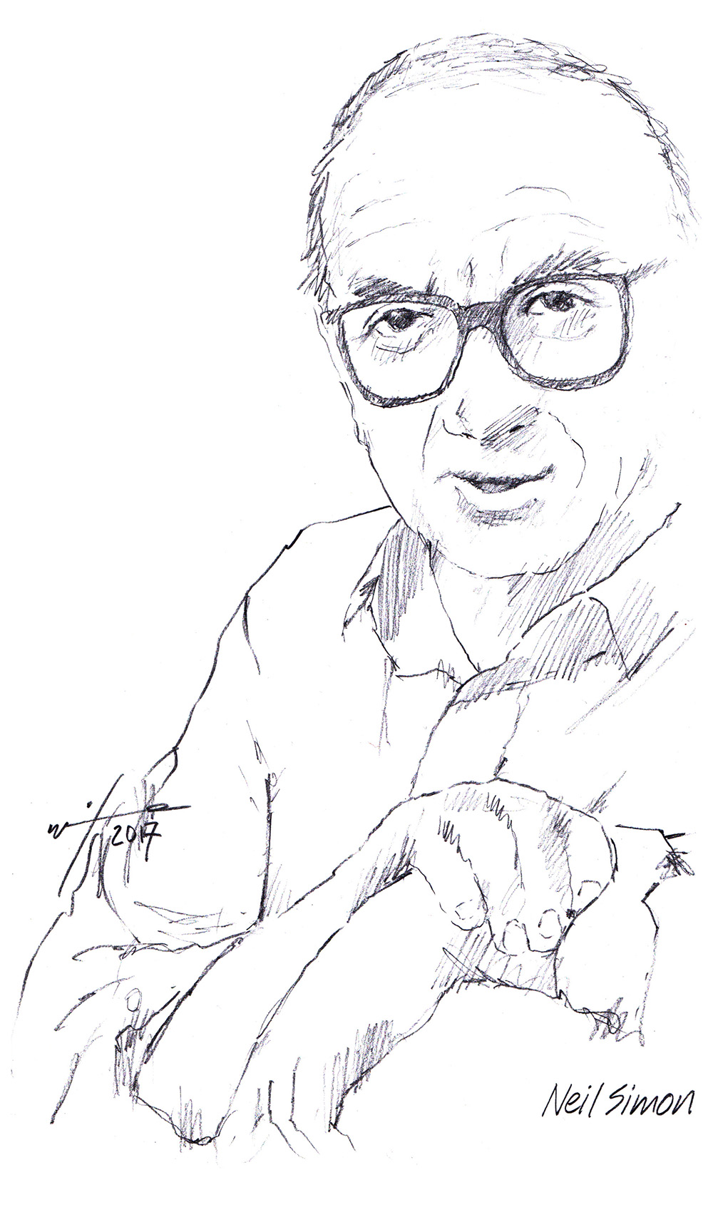 Drawing of writer Neil Simon