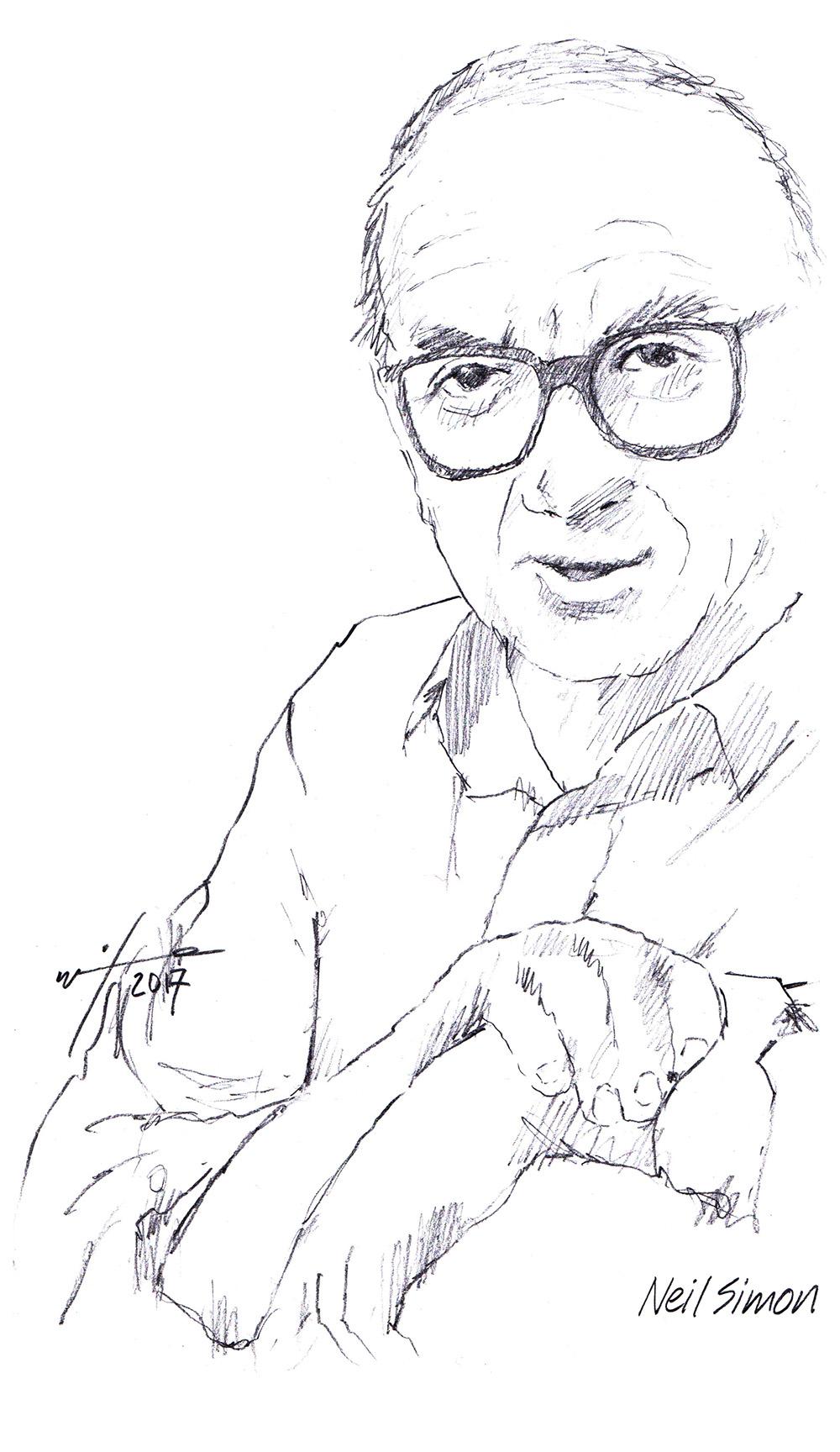 Drawing of writer Neil Simon