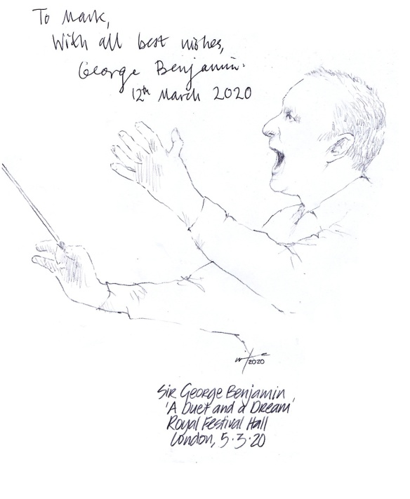 Autographed drawing of composer Sir George Benjamin