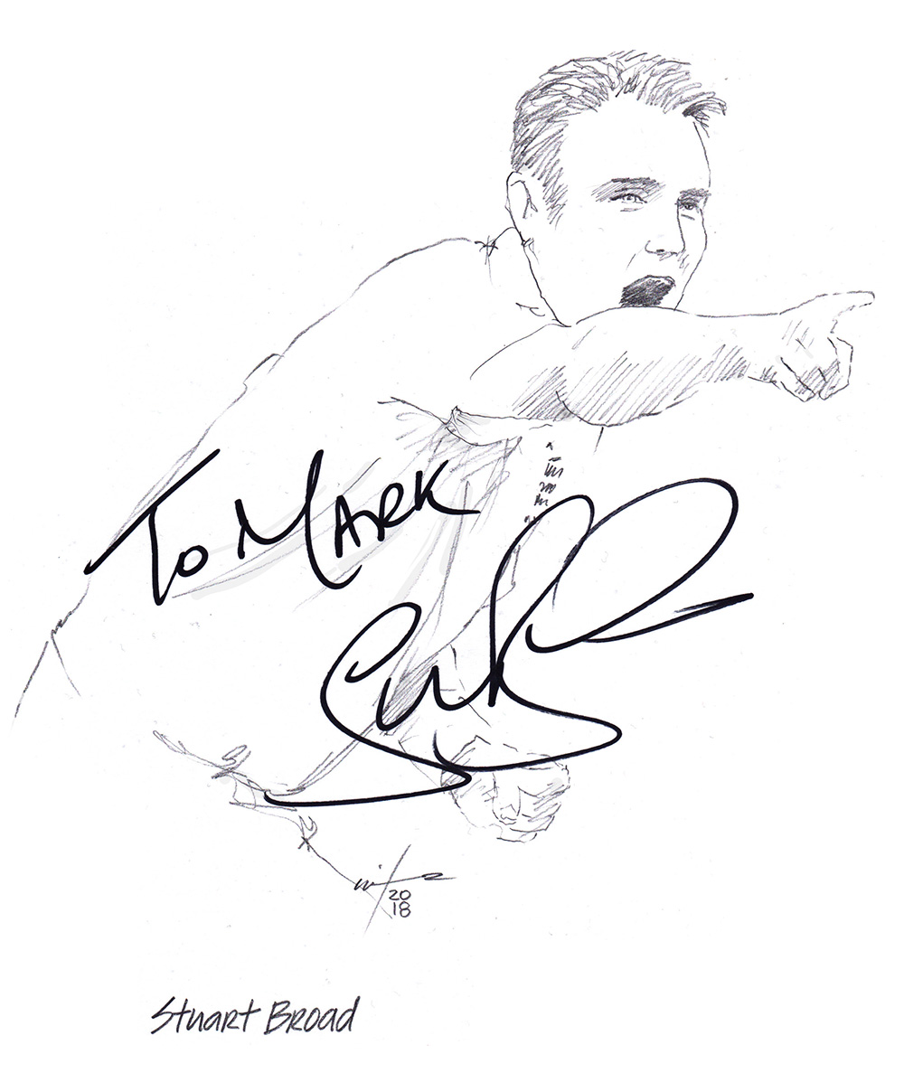 Autographed drawing of cricketer Stuart Broad