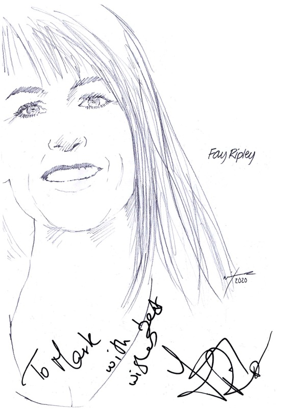 Autographed drawing of actress Fay Ripley