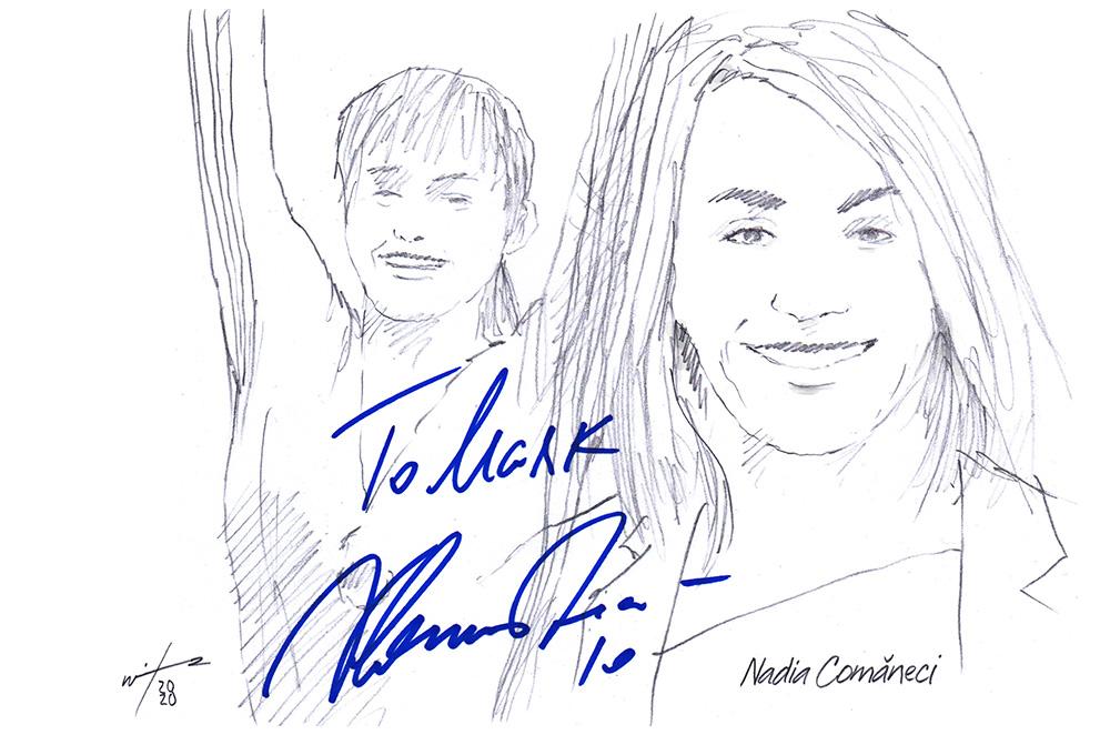 Autographd montage drawing of gymnast Nadia Comaneci