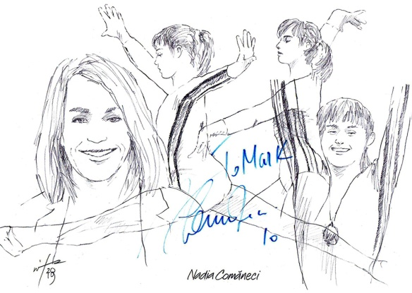 Autographd montage drawing of gymnast Nadia Comaneci