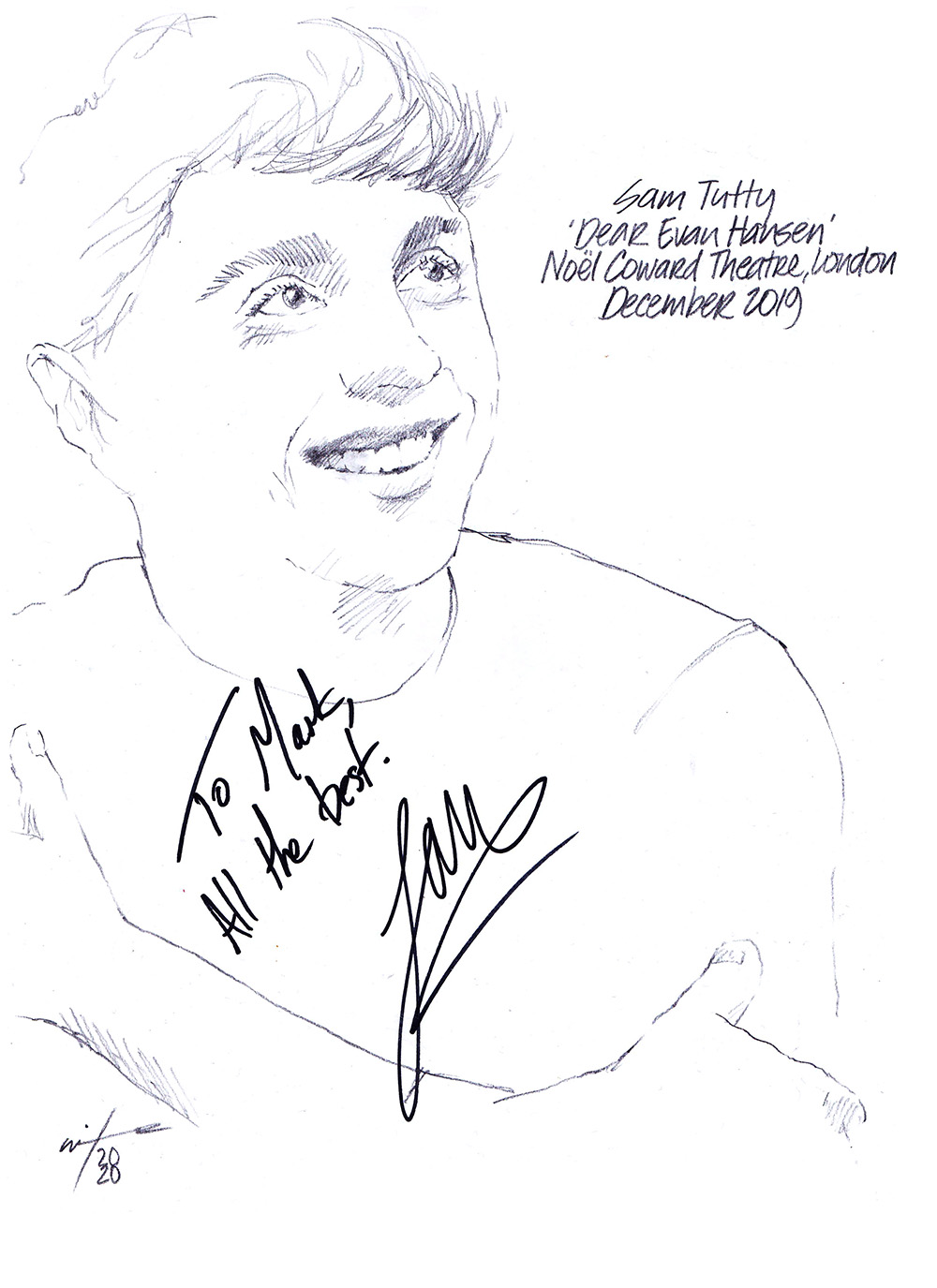 Autographed drawing of Sam Tutty in Dear Evan Hansen at the Noel Coward Theatre on London's West End