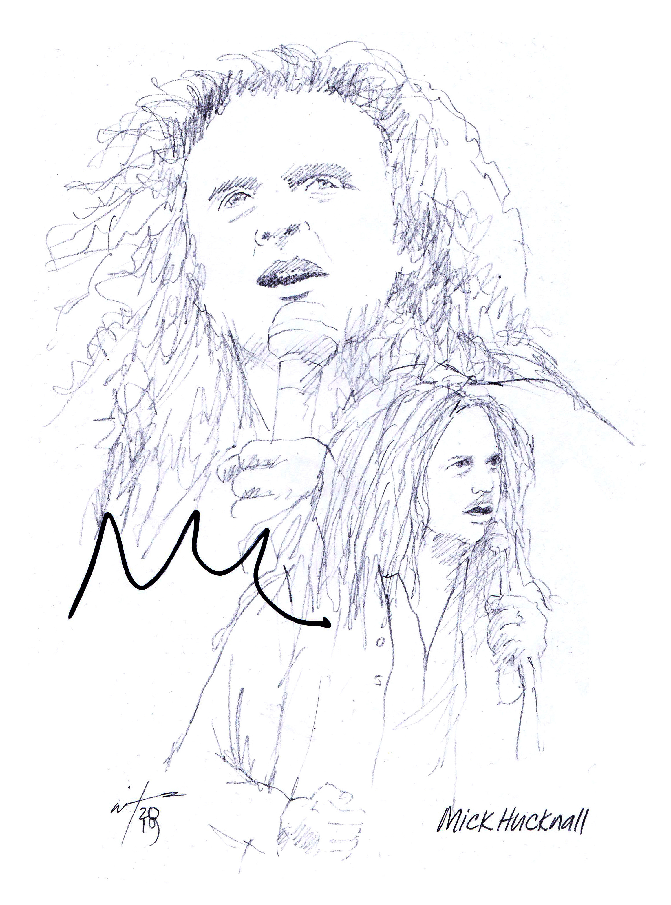 Autographed drawing of Mick Hucknall