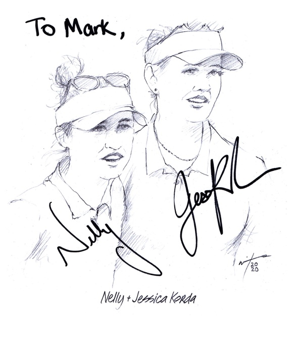 Autographed drawing of golfers Nelly and Jessica Korda