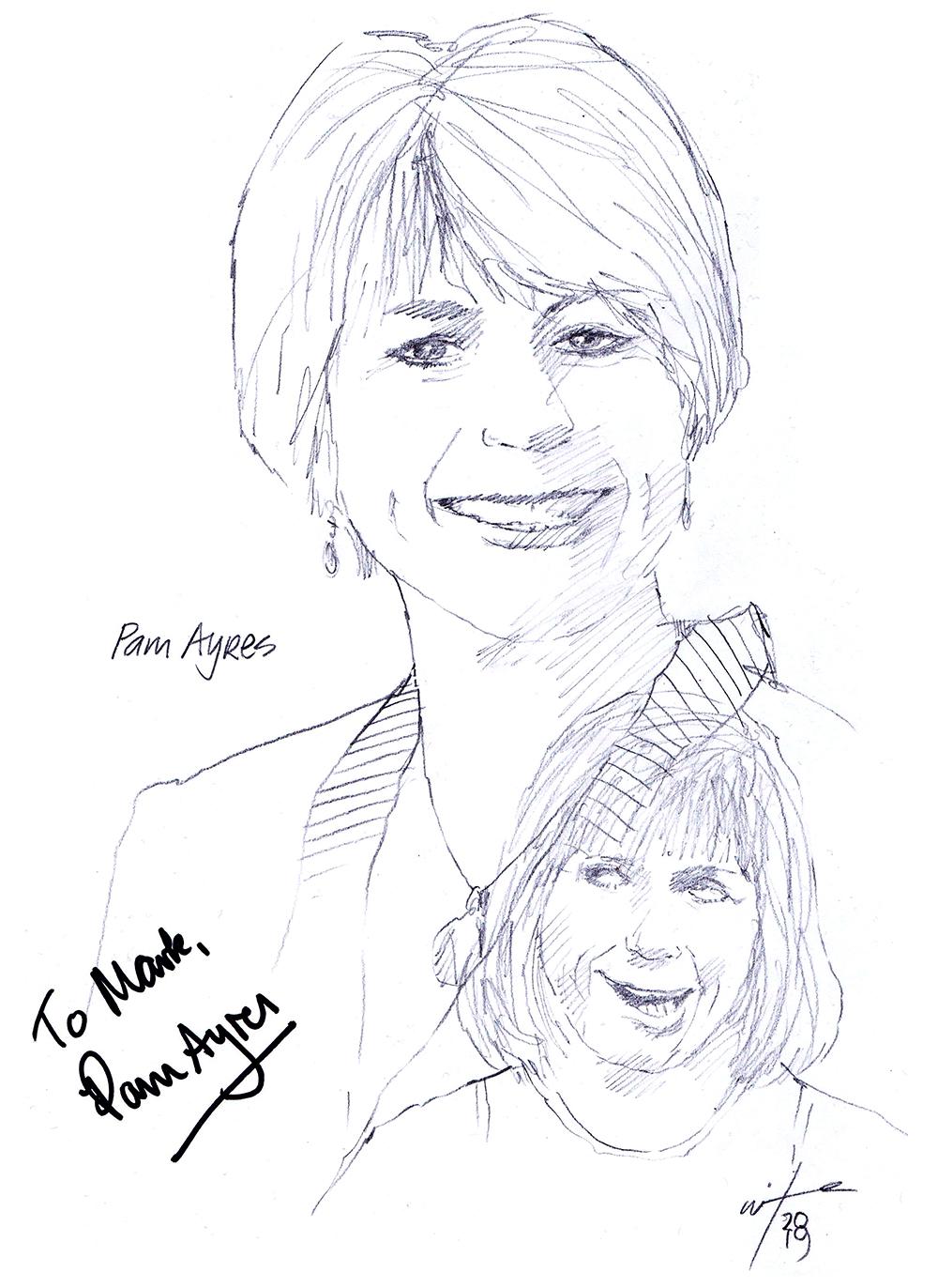 Autographed drawing of poet Pam Ayres