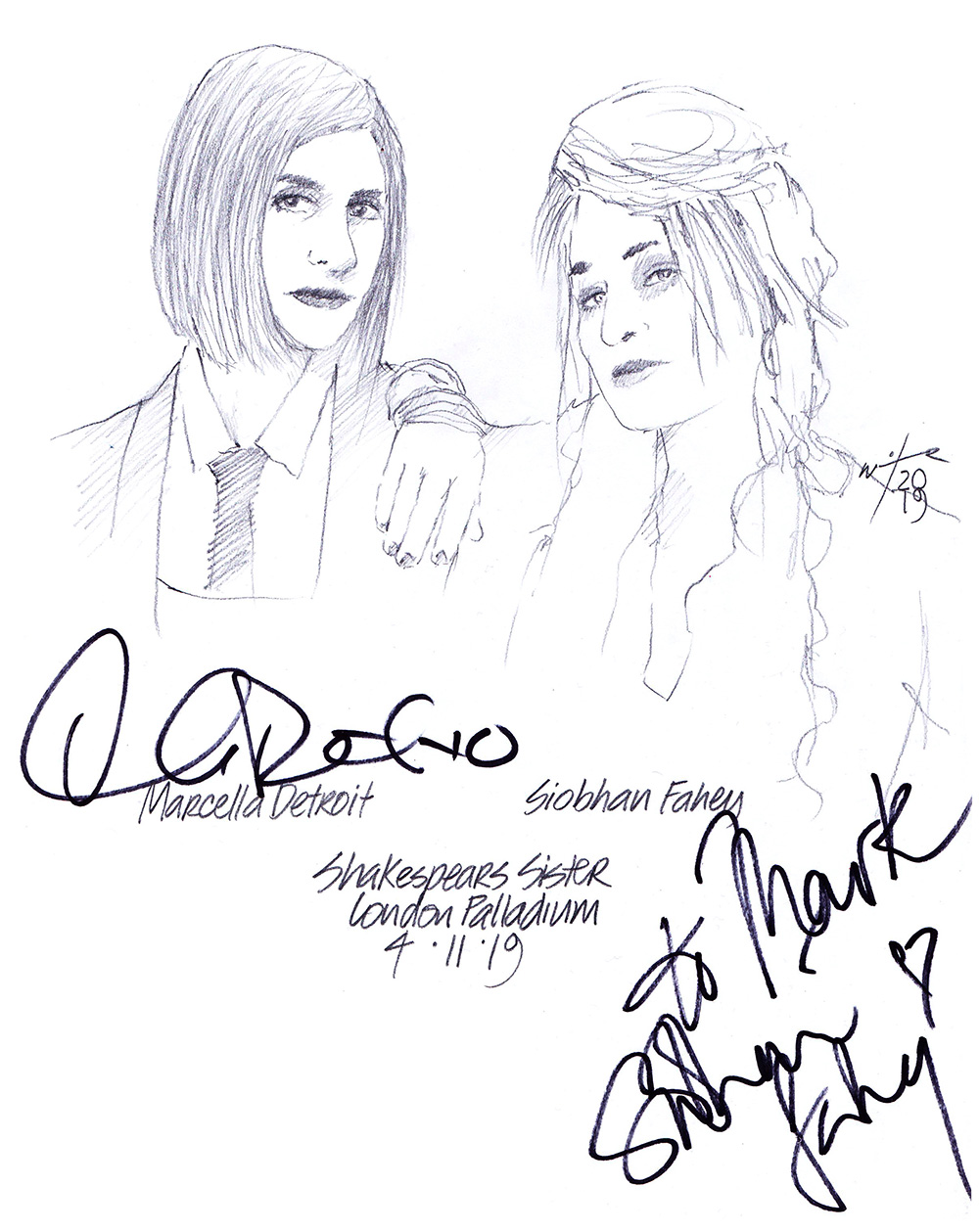 Autographed drawing of musicians Shakespears Sister