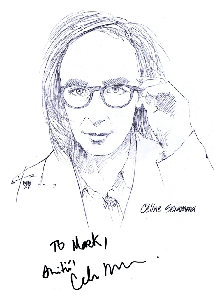 Autographed drawing of filmmaker Celine Sciamma