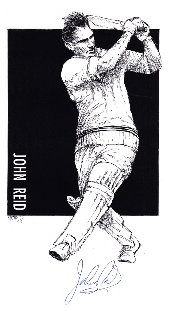 Autographed drawing of cricketer John Reid