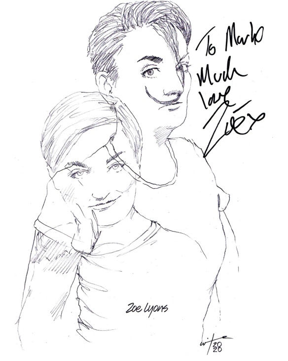 Autographed drawing of comedian Zoe Lyons in An Act of God at London's The Vaults Theatre