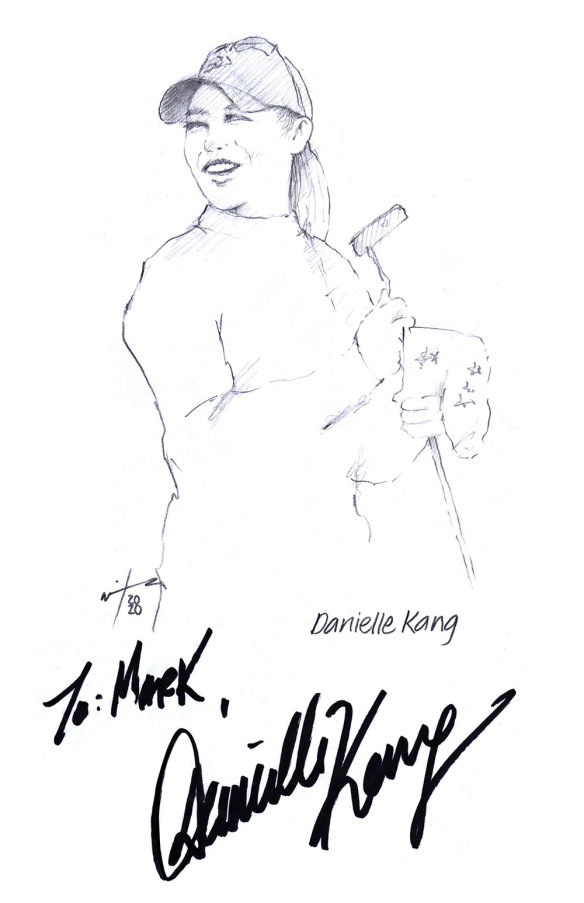 Autographed drawing of golfer Danielle Kang
