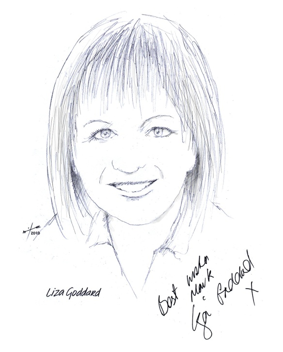 Autographed drawing of actress Liza Goddard