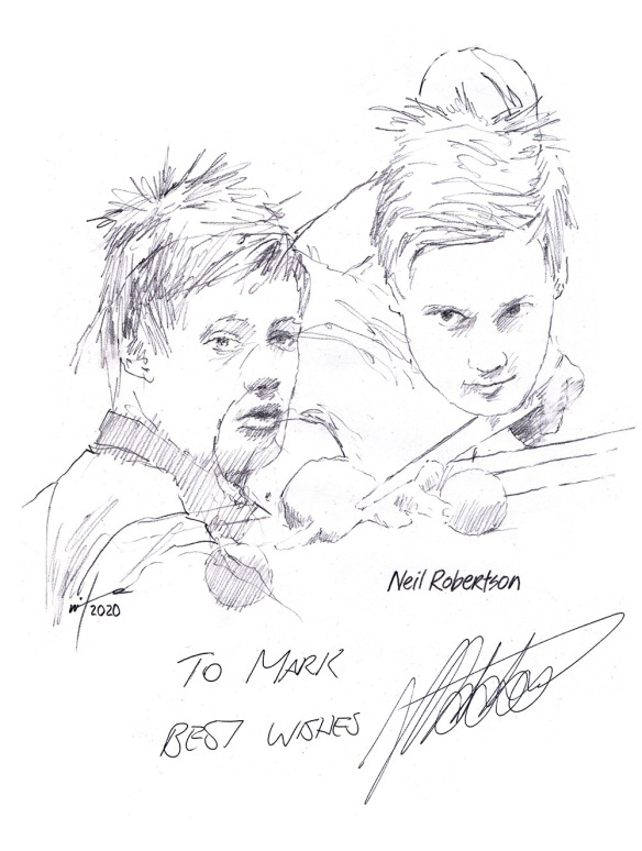 Autographed drawing of snooker player Neil Robertson