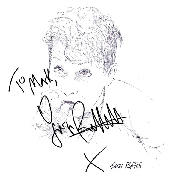 Autographed drawing of comedian Suzi Ruffell