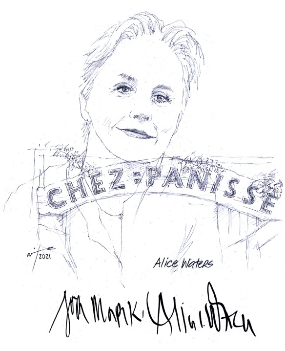 Autographed drawing of Chef Alice Waters at Chez Panisse