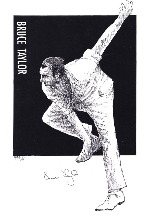 Autographed drawing of cricketer Bruce Taylor