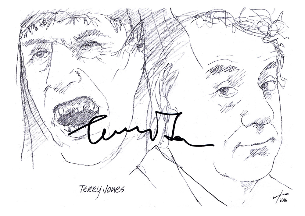 Autographed drawing of actor, writer and director Terry Jones