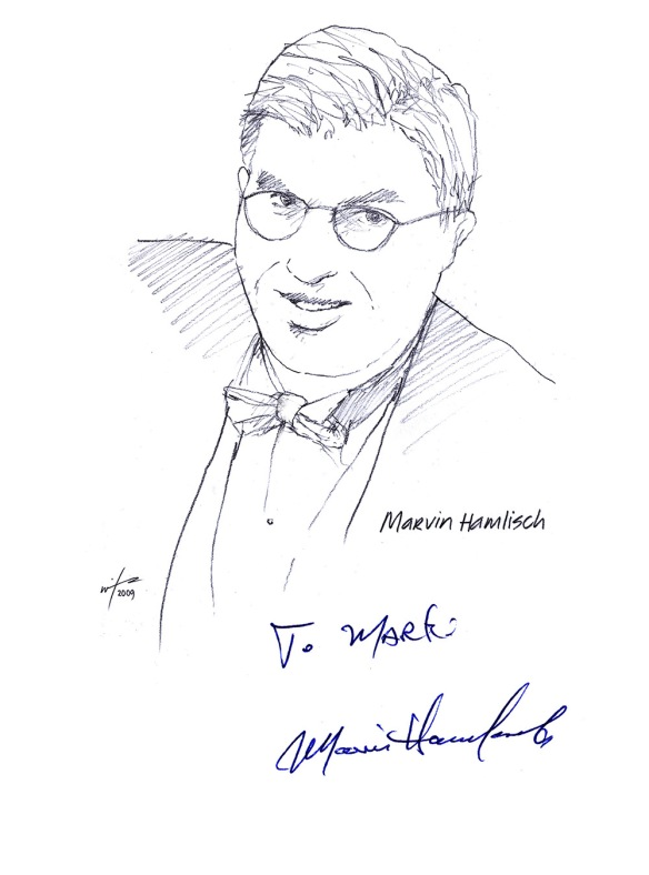 Autographed drawing of composer Marvin Hamlisch