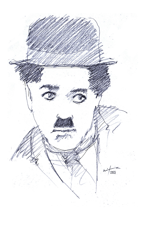 Drawing of Charlie Chaplin