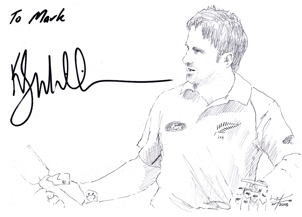 Autographed drawing of New Zealand cricketer Kane Williamson