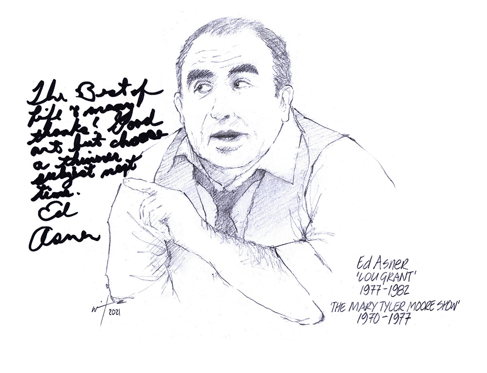 Autographed drawing of actor Ed Asner