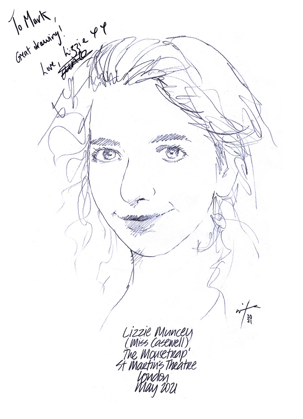 Autographed drawing of Lizzie Muncey as Miss Casewell in The Mousetrap at St Martin's Theatre on London's West End