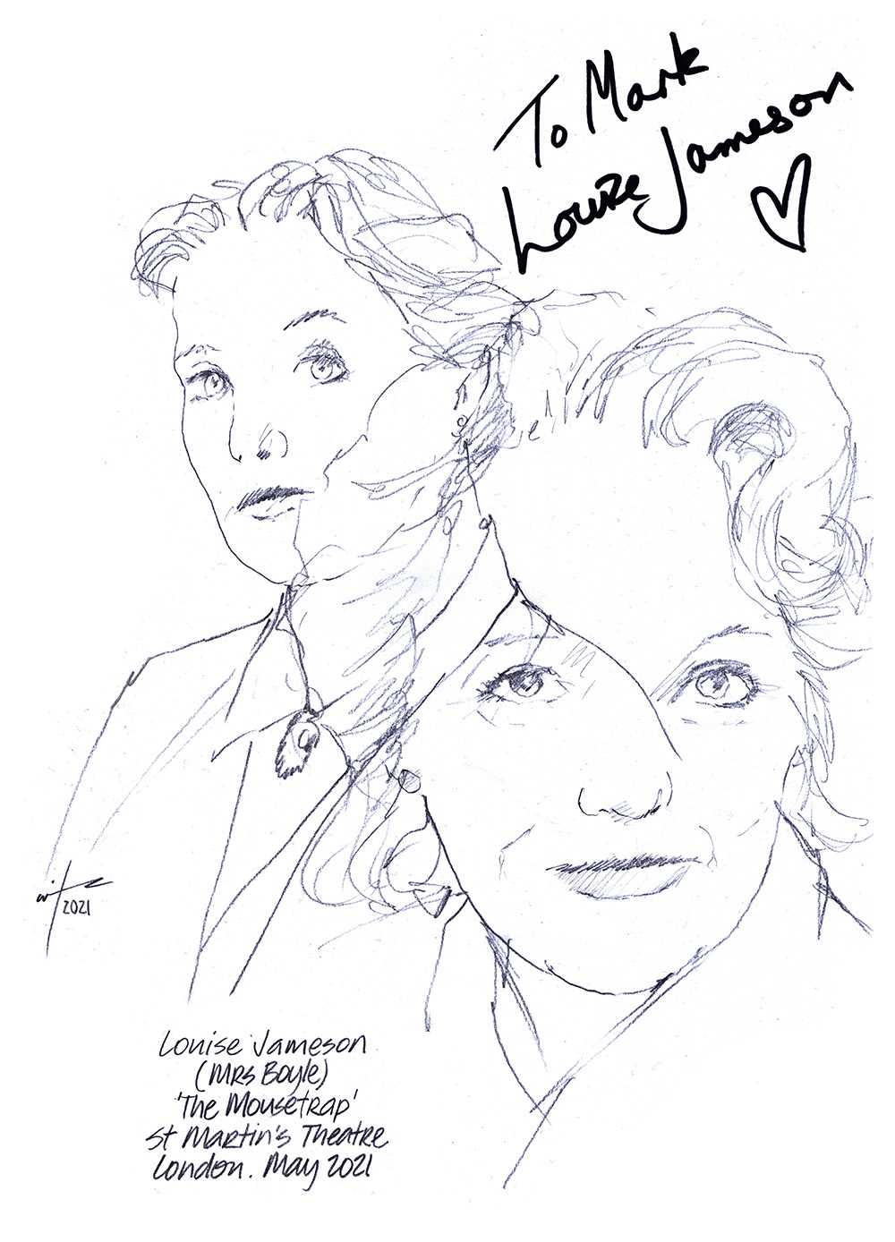 Autographed drawing of Louise Jameson as Mrs Boyle in The Mousetrap at St Martin's Theatre on London's West End
